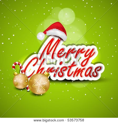poster of Merry Christmas celebration concept with stylize text, golden xmas balls and Santa Claus hat on shiny green background, can be use as flyer, banner or poster.