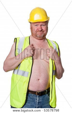 Construction Worker In Hard Hat - Isolated On White