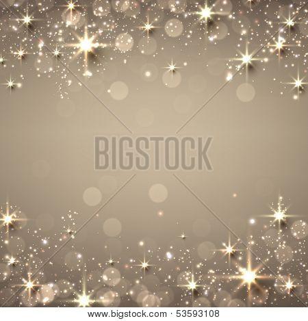Fondo dorado en Navidad textura abstracto. Ilustración de vacaciones con estrellas y destellos. Vector.