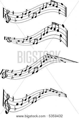 Music Note Swirls X4.