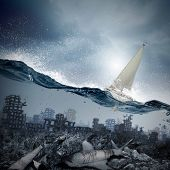 Floating yacht and dolphins swimming in water above sunken city poster