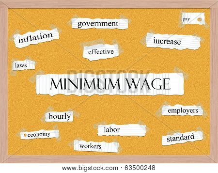 Minimum Wage Corkboard Word Concept