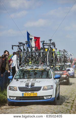 Row Of Technical Vehicles- Paris- Roubaix 2014