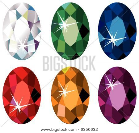 Oval cut precious stones with sparkle