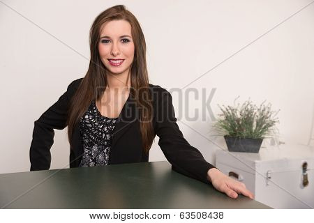 Beautiful Woman Attractive Business Person Sits Across Desk Meeting Consultant