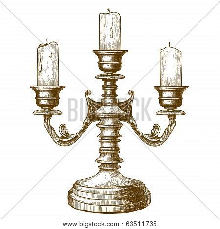 Engraving Of Candlestick On White Background