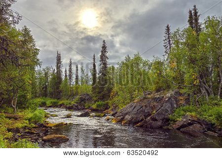 Polisarka river. Kola Peninsula. River spawning salmonids in the Arctic. Russia. poster