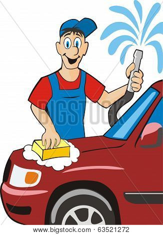 car washing sign with sponge and hose poster