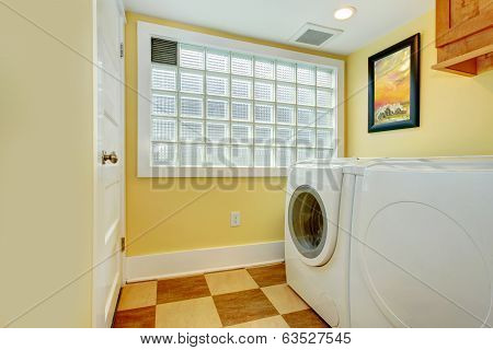 Laundry Room With Glass Block Window
