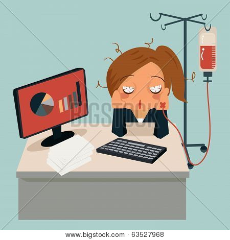 Businesswoman Sitting In Office, Looking Very Sick And Her Hand Attaching Intravenous Tube To Medici