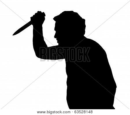 Man Silhouette European Stabbing With Knife