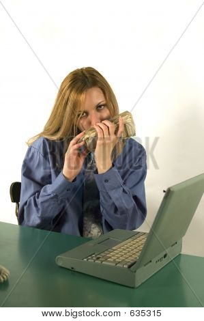 Business woman in office with earn money poster