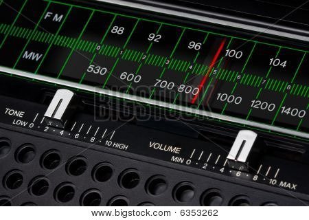 black vintage radio tuner closeup with tone and volume control poster
