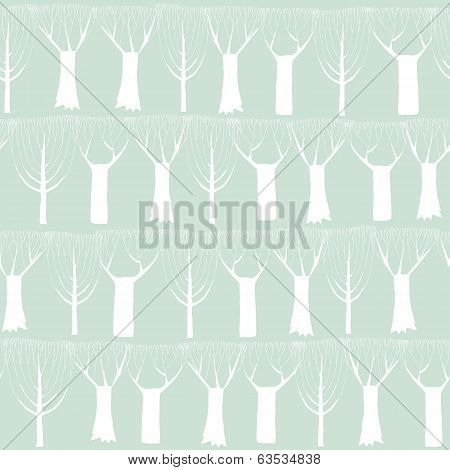 Trees Seamless Pattern Tapestry In White