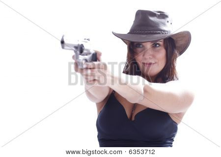 Sexi Girl With Hat With Gun