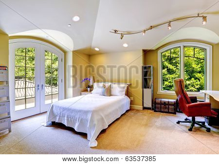 Luxury House Interior. Bedroom With Walkout Deck
