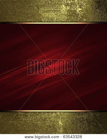 Red Texture With Gold Edges. Design Template.