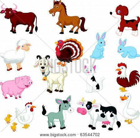 Farm animal cartoon collection set