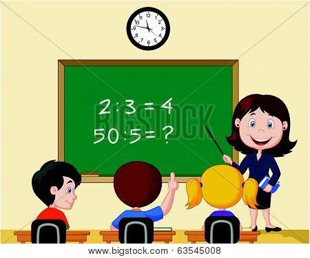 Cartoon Teacher pointing at blackboard and looking at schoolkids in classroom