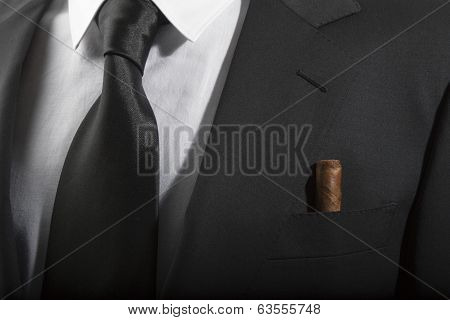 Jacket And Tie With Cuban Cigar In The Pocket, Italian Fashion