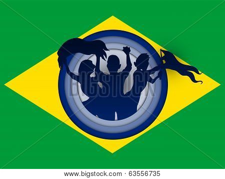 Vector - Brazil Flag with Soccer Ball Background poster