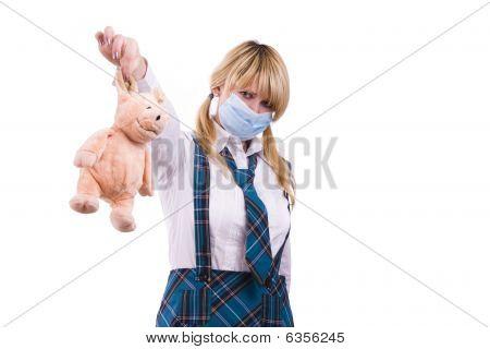 Pig Flu Virus.schoolgirl With Mask Is Afraid Pig