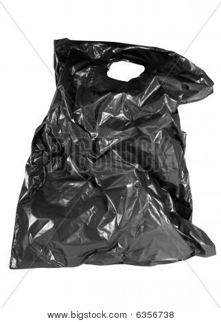 Photo Of Isolated Old Black Plastic Bag.