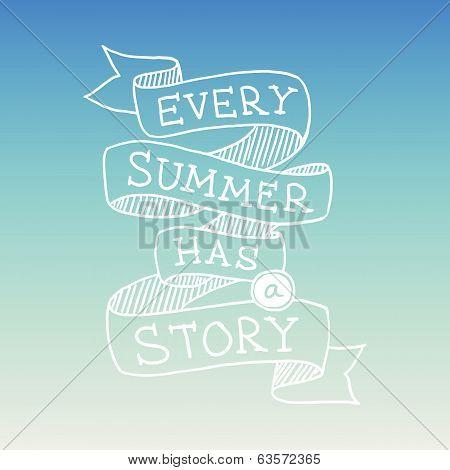 Hand drawn summer quotation, vector illustration
