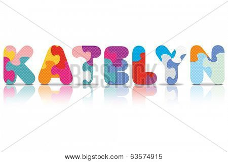 KATELYN written with alphabet puzzle - vector illustration