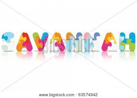 SAVANNAH written with alphabet puzzle - vector illustration