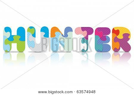 HUNTER written with alphabet puzzle - vector illustration