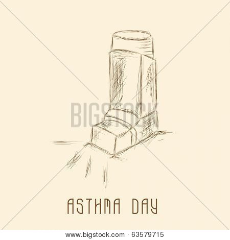 World Asthma Day sticker, tag or label with inhaler on brown background.
