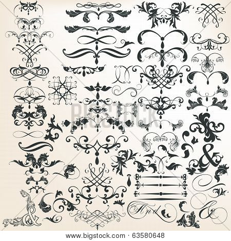 Collection Of Vector Decorative Calligraphic Elements For Design