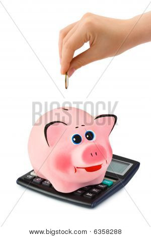 Calculator, Piggy Bank And Hand With Coin