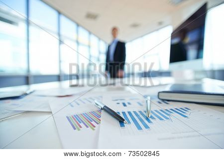 Papers with financial data on office table