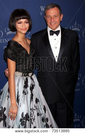 LOS ANGELES - OCT 8:  Zendaya Coleman, Bob Iger at the Princess Grace Foundation Gala 2014 at Beverly Wilshire Hotel on October 8, 2014 in Beverly Hills, CA