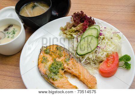 Grilled Salmon, Salad, Chawanmushi And Soup Miso