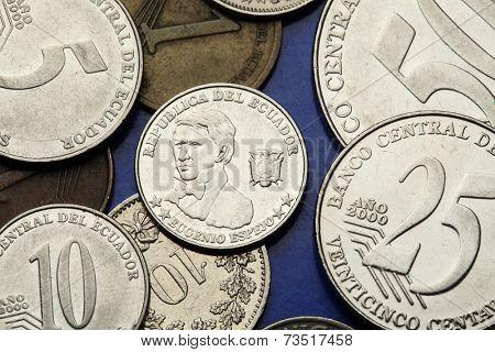 Coins of Ecuador. Ecuadorian national hero Eugenio Espejo depicted in the Ecuadorian centavo coins.