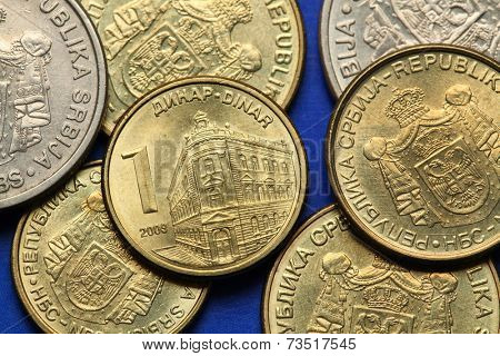 Coins of Serbia. The building of the National Bank of Serbia in Belgrade depicted in Serbian one dinar coin.  poster