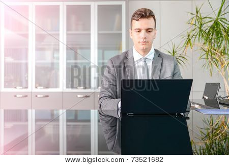 Business Man At Computer Desk