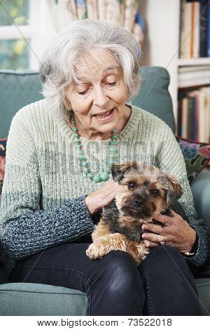 Happy Senior Woman Holding Pet Dog Indoors poster