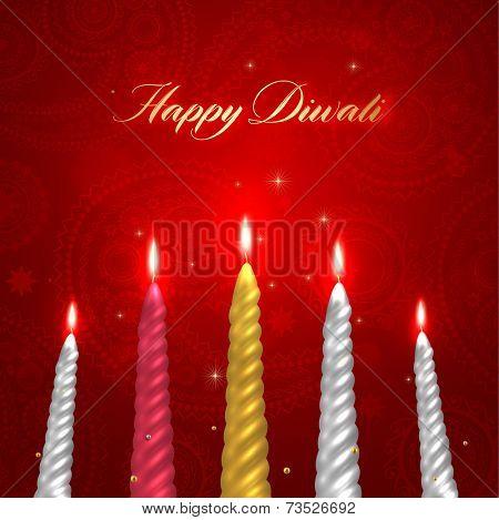 Happy Diwali Vector Design. Set of Burning Wax Candles.