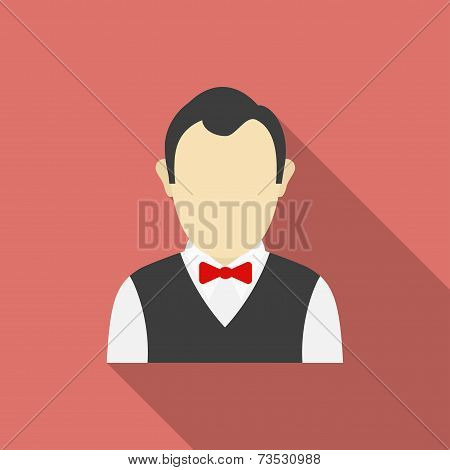 Croupier Icon. Modern Flat Style With A Long Shadow