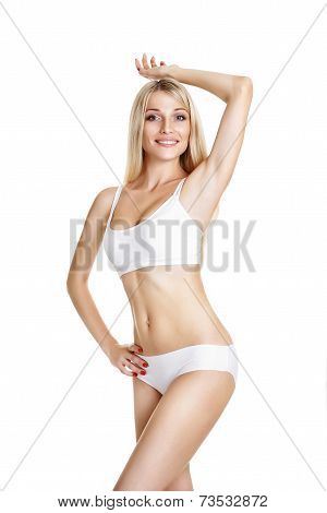 Female waxing armpit in a beauty salon. Ideal smooth clear skin. Depilation. Epilation