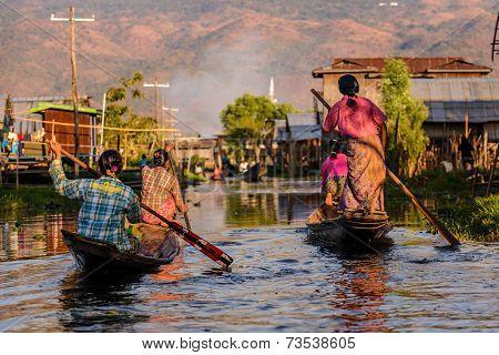 Burmese Women Rowing On Wooden Boats, Inle Lake, Myanmar