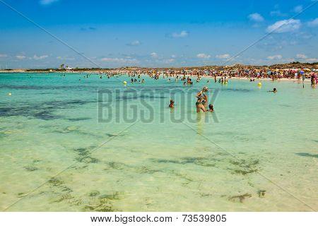 Formentera,Spain,21 August,2013:Tourists In Illetes Beach Formentera Island, Mediterranean Sea