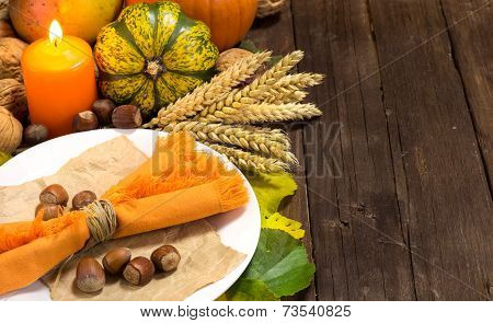 Rustic Autumn Table Setting