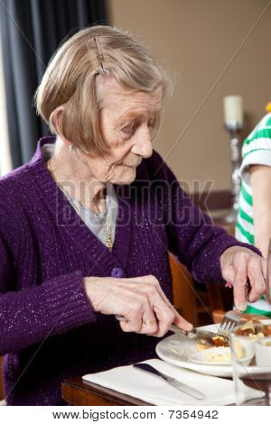 Elderly Lady Eating