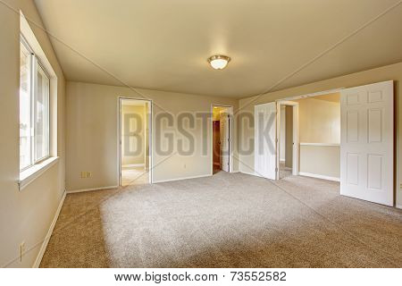 Emtpy Master Bedroom With Bathroom And Walk In Closet