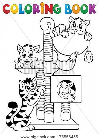 Coloring book cat theme 1 - eps10 vector illustration.